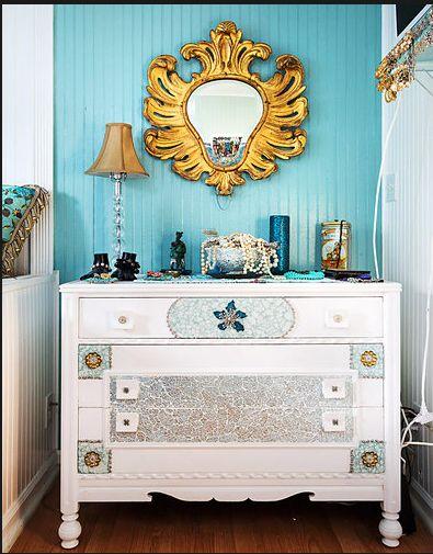 decoração casa pequena, decoração turquesa, casa de campo
