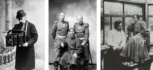 Left: Self-portrait by Karl Bulla. Middle: Grigory Rasputin, Major General Putyatin and Colonel Lotman, 1904-1905. Right: Leonid Andreyev and his wife, Countess Anna Wielhorska, 1903