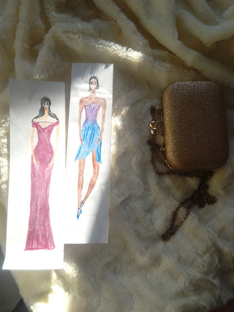 Two  Fashion Illustrations (Special Occasion : Blue and Purple)