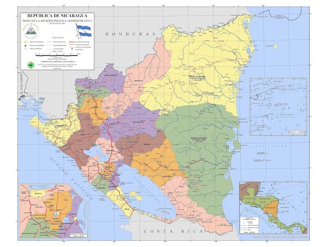 Mapa político da Nicarágua