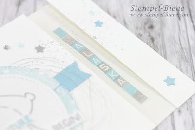 Babykarte zur Geburt; Bärenkarte, Glückwunschkarte Geburt; Swaps Prämienreise, Stampin' Up Tierische Glückwünsche; Fensterkarte