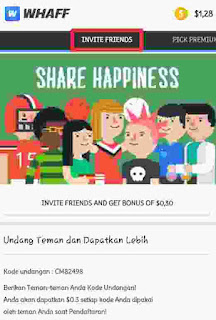 Menu invite friends di whaff rewards