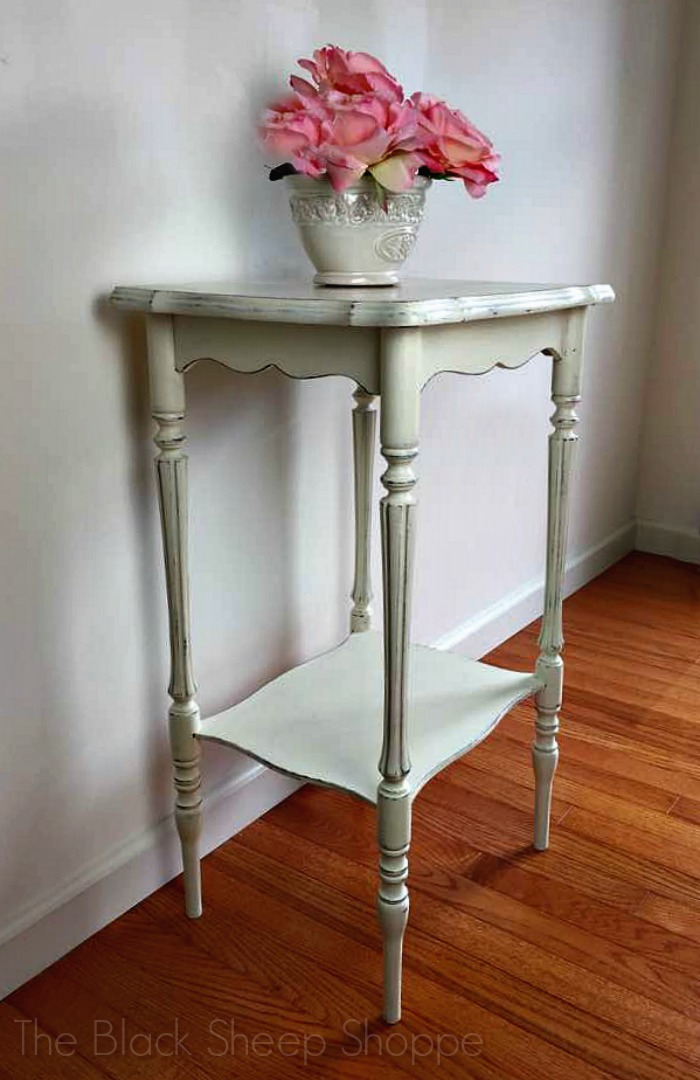 Side table painted in Old White (Annie Sloan Chalk Paint).
