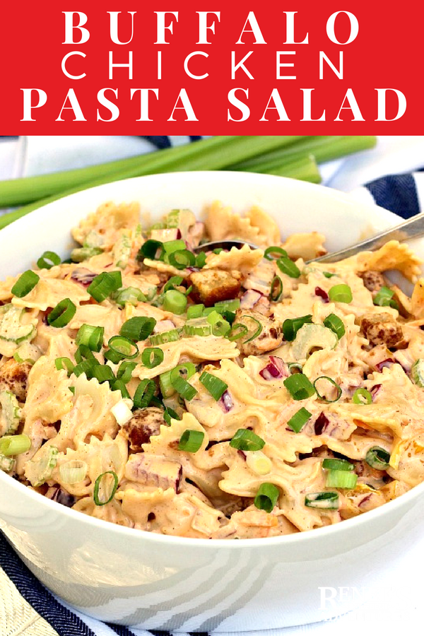 "Creamy Buffalo ""Chicken"" Pasta Salad 
