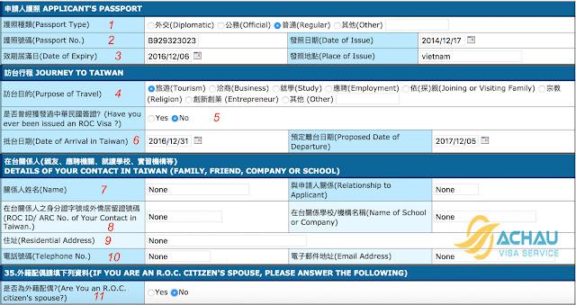 Hướng dẫn điền đơn xin visa thăm thân Đài Loan