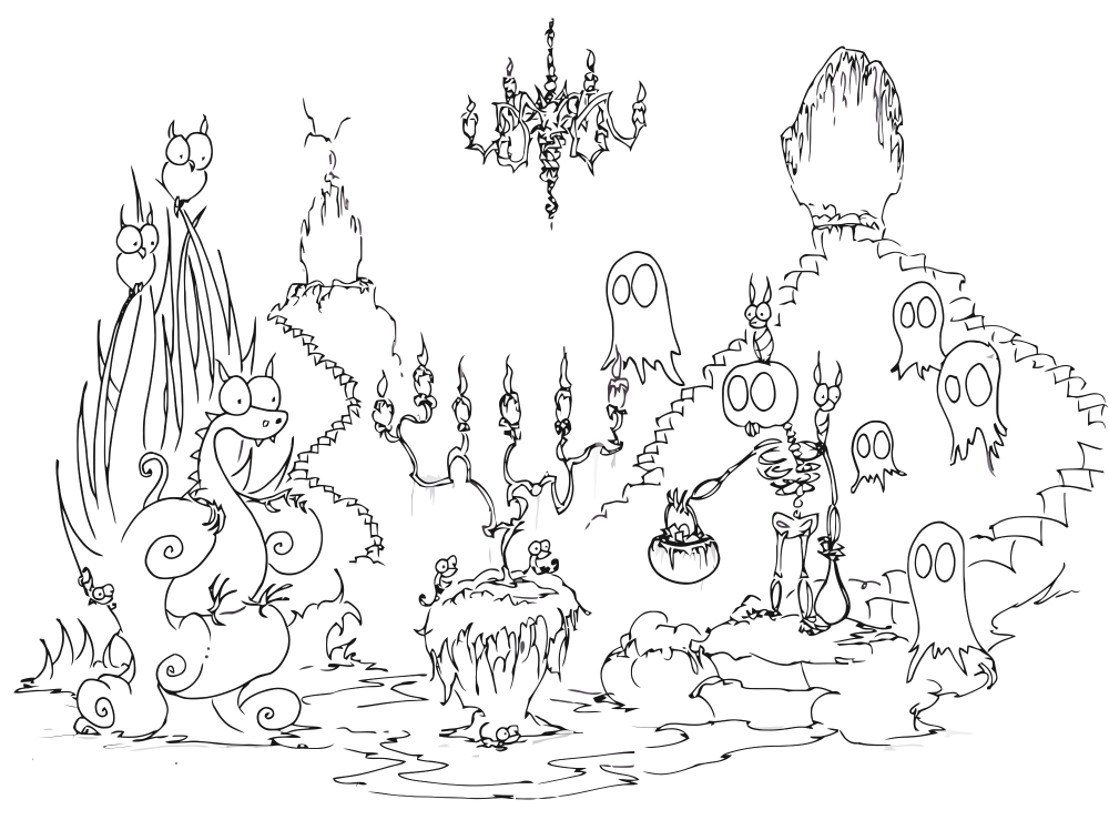 Hallow-Holics Anonymous: Spooky Coloring Pages