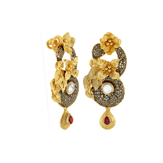 Floral inspired earrings curated in sterling silver with an oxidised finish which depicts vintage charm by Izaara