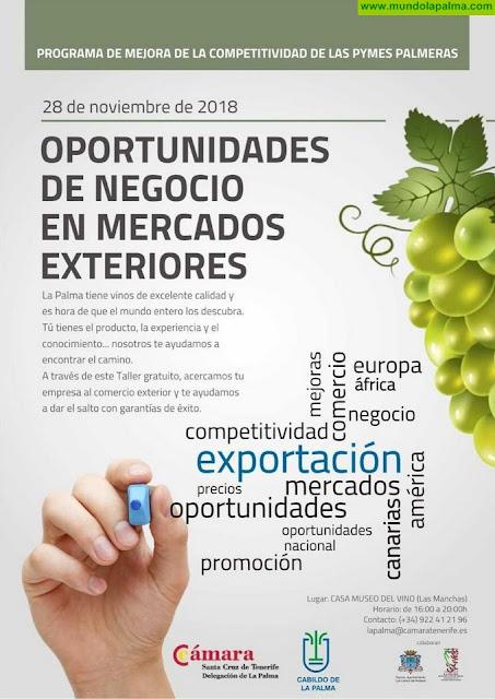 Cámara y Cabildo asesoran a las pymes palmeras del subsector del vino sobre cómo abrir fronteras comerciales y acceder a nuevos mercados