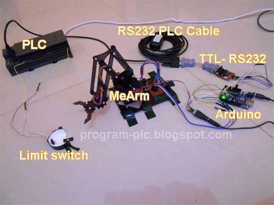 Collaboration between arduino robot arm mearm and plc