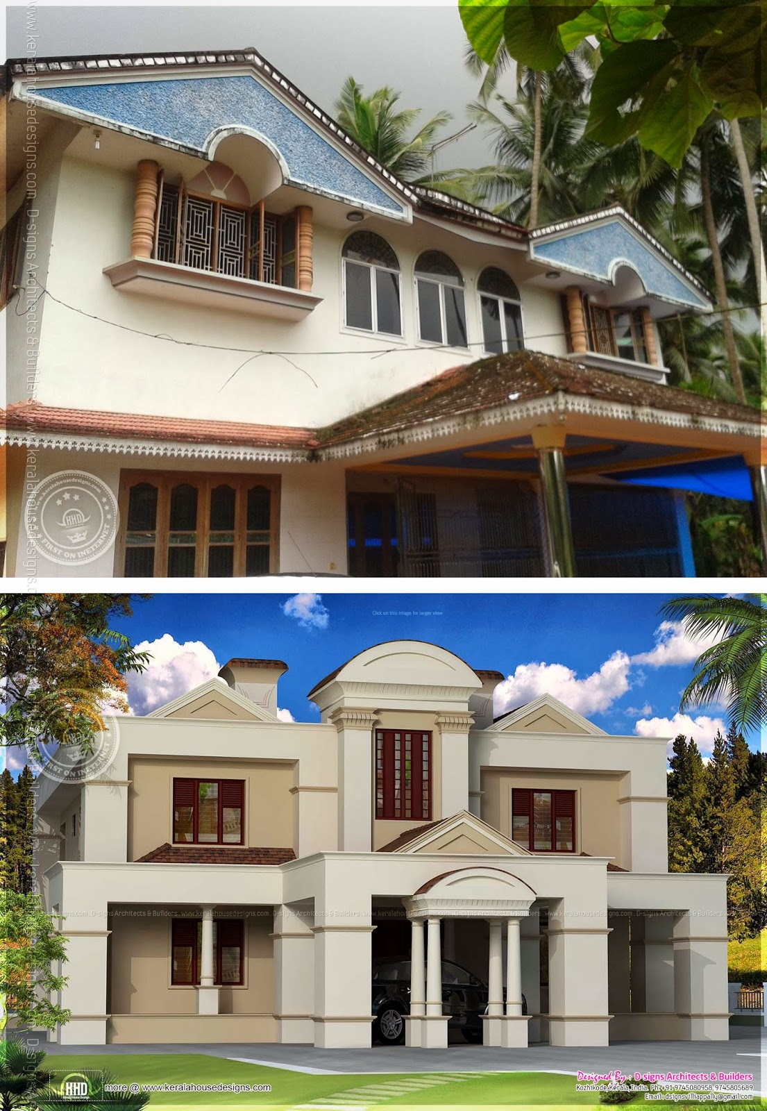 Traditional old house renovation plan to colonial style for Renovated homes before and after photos