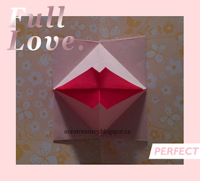 step by step making Valentine's origami kiss