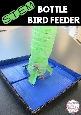 STEM Challenge: Build a bird feeder and decorate it! This team cut holes in the bottom of the bottle and added cardboard slides. When you pour the bird seed into the bottle it slides out onto the bird feeding platform!