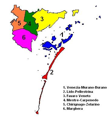 Die Municipalità Venedigs (http://it.wikipedia.org/wiki/File:MunicipalitaVCE.png)
