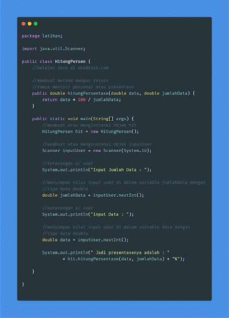 contoh kode code coding program menghitung menentukan rumus persentase persenan dalam di pada java