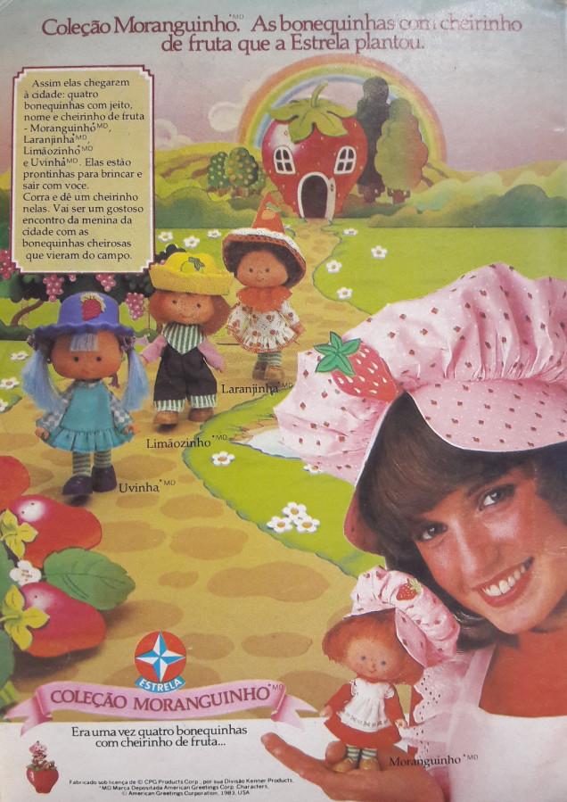 Propaganda que lançou a coleção de bonequinhas Moranguinho em 1983