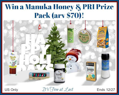 Enter the Manuka Honey and PRI Prize Pack Giveaway. Ends 12/27