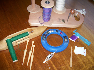 Bobbins used in spinning, weaving, sewing, tatting, embroidery, and lace-making.