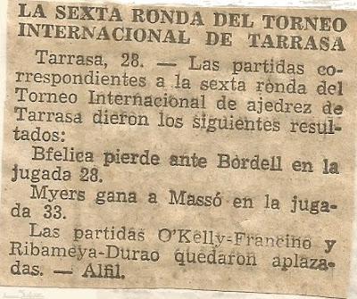 I Torneo Internacional de Terrassa 1960, noticia sobre la sexta ronda