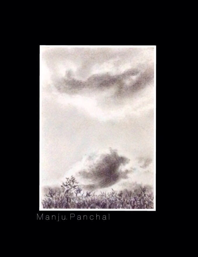 Charcoal painting of clouds in the evening sky by Manju Panchal