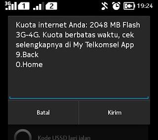 Sukses mendapatkan tambahan kouta 2GB dari telkomsel