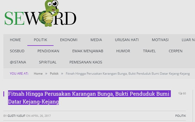 Media Fitnah Seword.com Kembali Berulah dengan Framing Pengerusakan Karangan Bunga