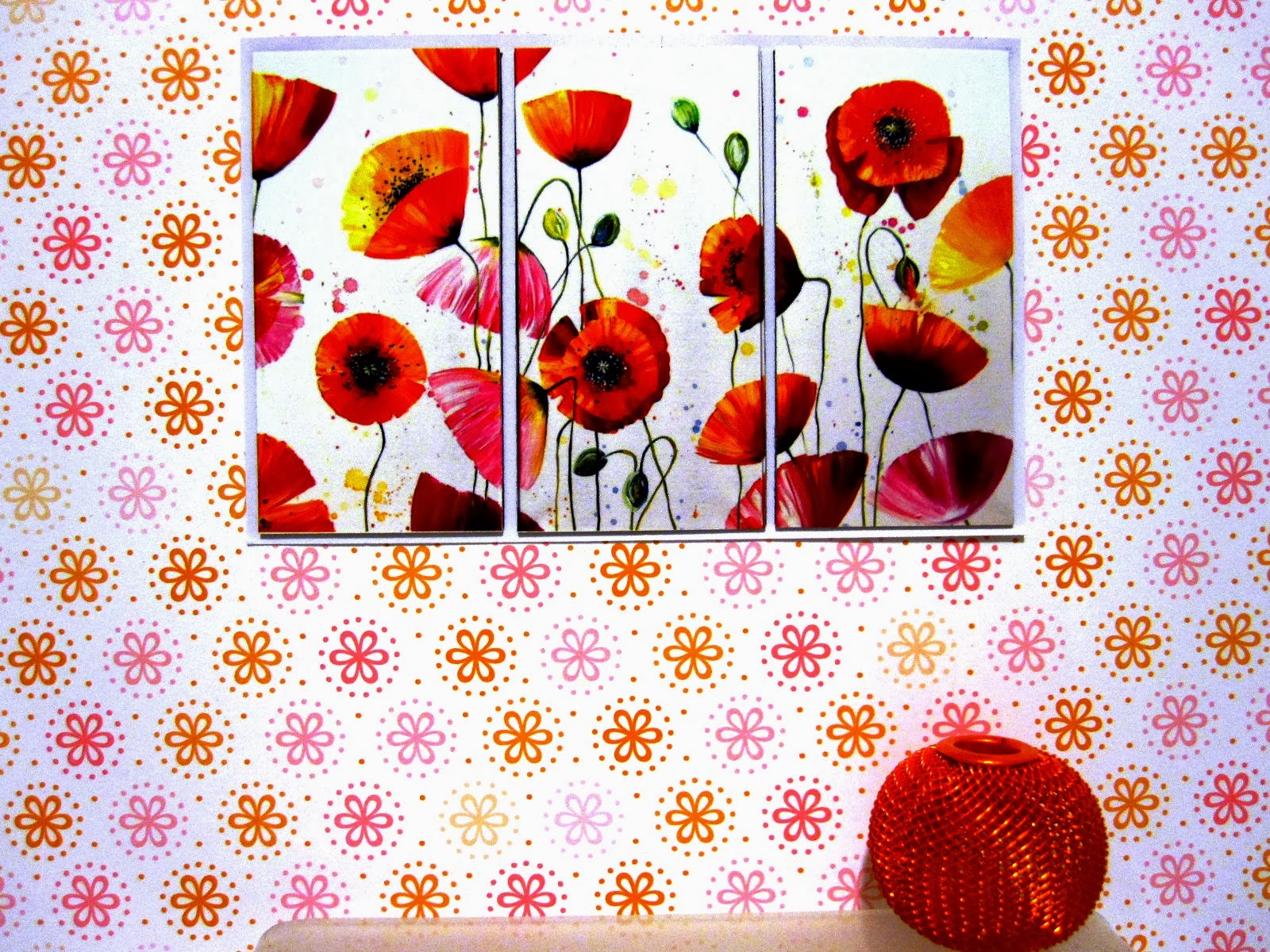 Dolls' house miniature poppy triptych on a wall