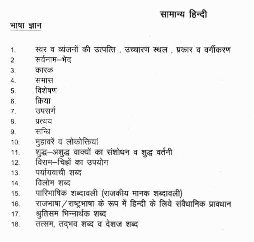 Rajasthan Patwari General Hindi Syllabus
