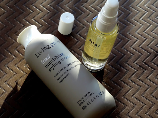 Living Proof No Frizz Nourishing Styling Cream, Ouai Hair Oil