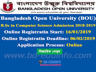 BOU B.Sc in Computer Science Admission 2018-2019
