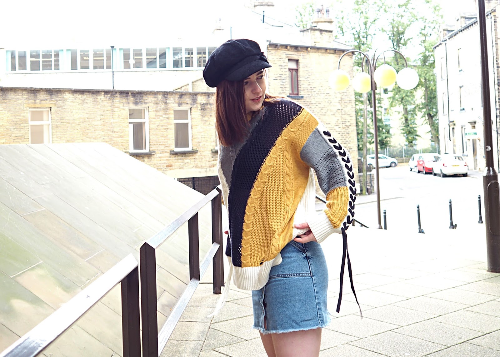 colour block yellow jumper