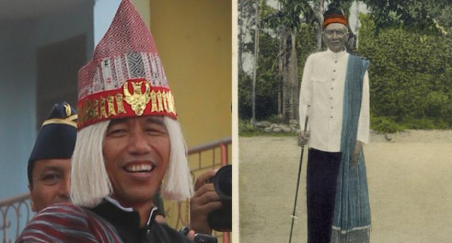 Presiden Joko Widodo saat mengikuti Karnaval Kemerdekaan Pesona Indonesia (kiri) Ompoe Radja Maoealoe Sirait saat berada di Samosir (Kanan)