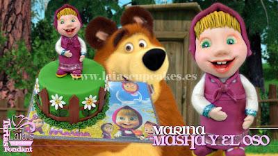 Tarta de fondant personalizada con modelado Masha y el oso Laia's Cupcakes Puerto Sagunto