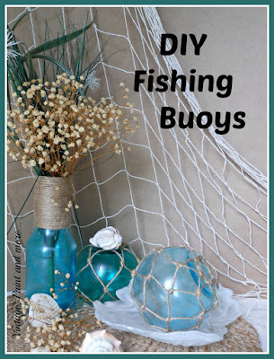 Vintage, Paint and more... DIY fishing buoys, painted sea glass bottle and shells