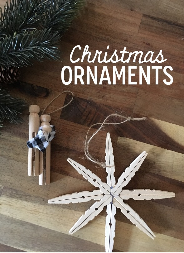 quick wooden christmas ornaments i am loving the unfinished wood look against the green fir treesbut you could easily stain or paint the wood too