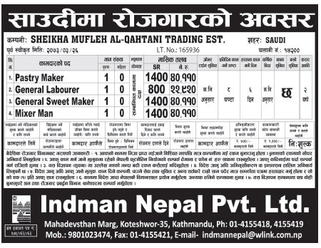Jobs For Nepali In Saudi Arabia, Salary -Rs.40,000/