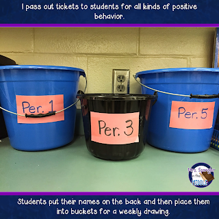 I pass out tickets to students for all kinds of positive behaviors.  Then students put their names on the back and place them into buckets for a weekly drawing.