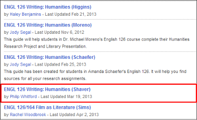 Example guide title: ENGL 126 Writing: Humanities (Shaver)