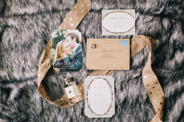 wedding stationary on faux fur