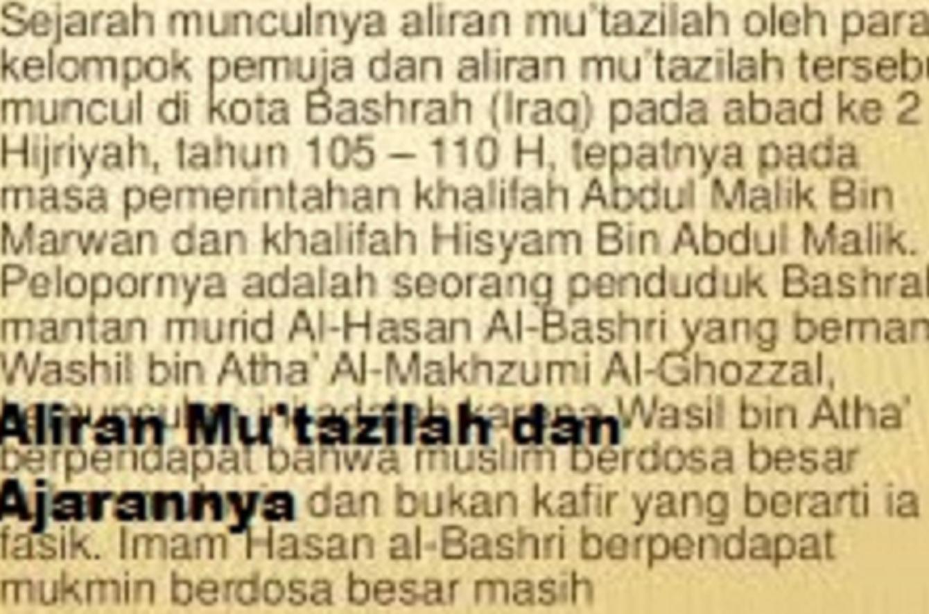 Sejarah Munculnya Aliran Mu'tazilah dan Ajarannya