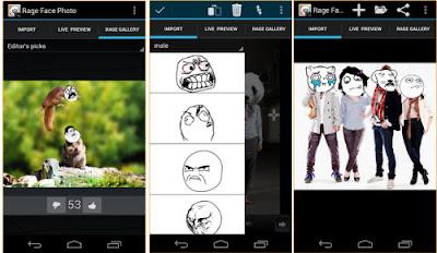 Aplikasi edit foto Hp android lucu terbaru rage face