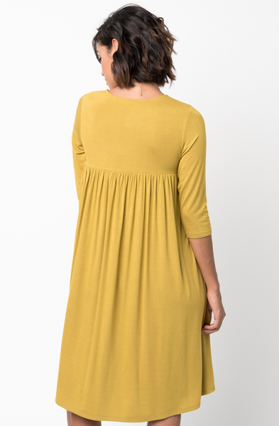 Shop for Mustard Shirred Back Midi 3/4 sleeve jersey dress crew neck online on caralase.com