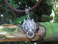 "This is a great celtic leather necklace for men and women, with a beautiful ""Fenrir"" wolf head hanging on a braided ""Bola"" band."