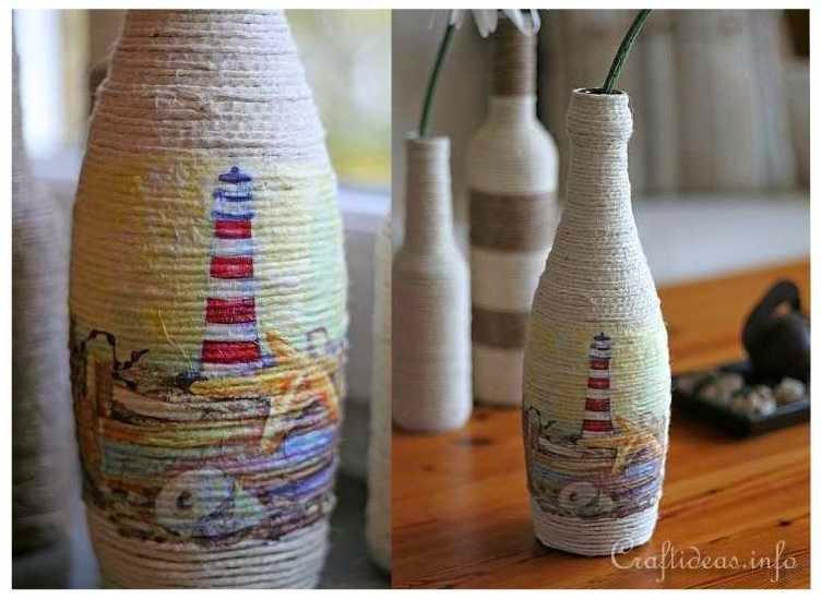 Kreasi Membuat Pot Bunga Dari Botol Bekas Dan Benang Rami
