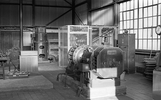 Photograph of the Old pump house with first electrically driven pump which replaced the steam driven power until July 1966