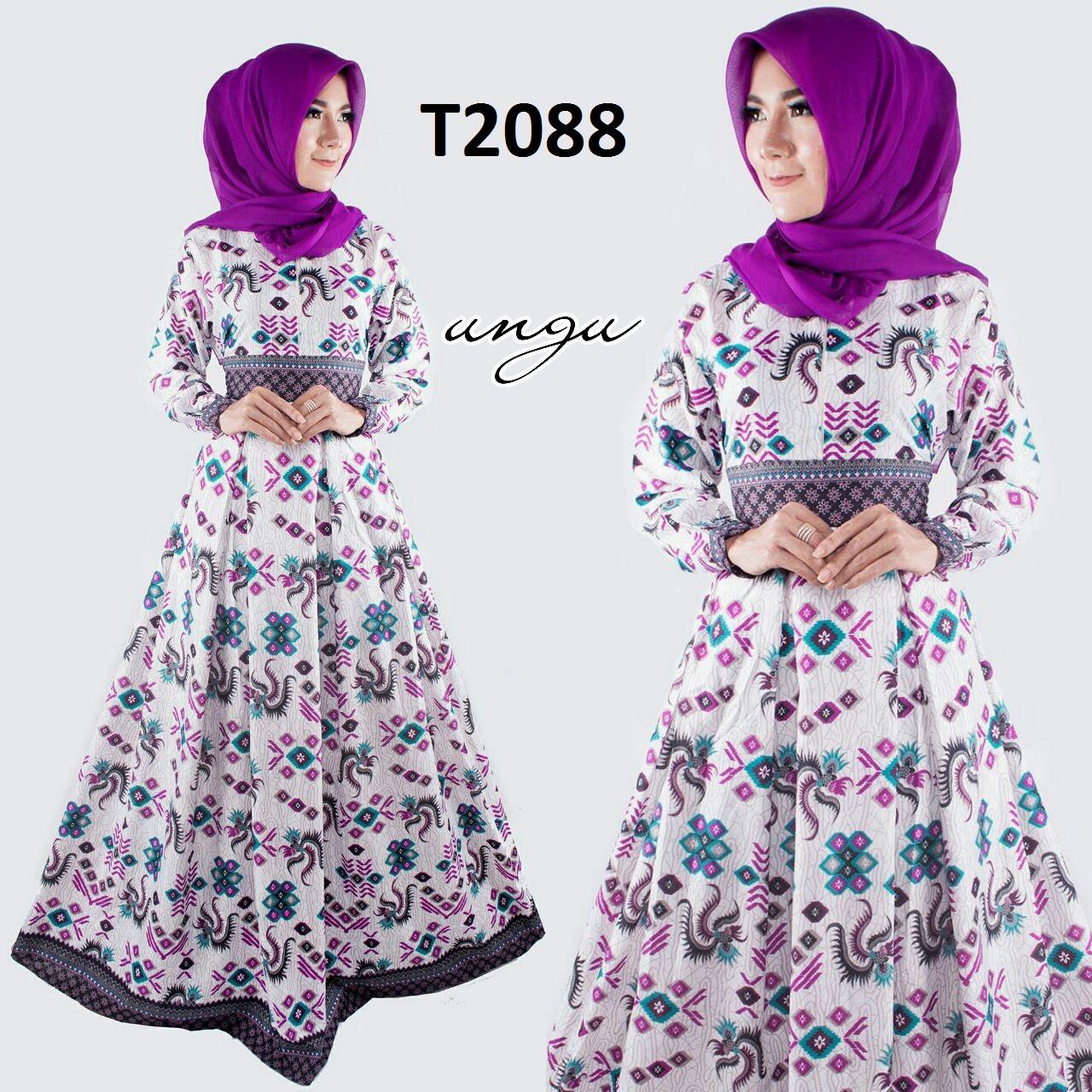 Baju batik wanita model gamis terbaru 2017 t2088 Baju gamis batik ibu menyusui