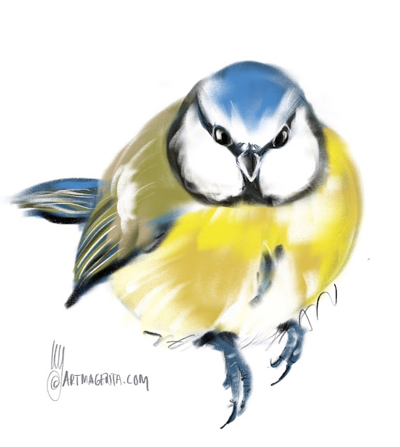 blue tit bird painting by Artmagenta