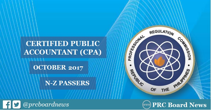 N-Z Passers List: October 2017 CPA board exam result