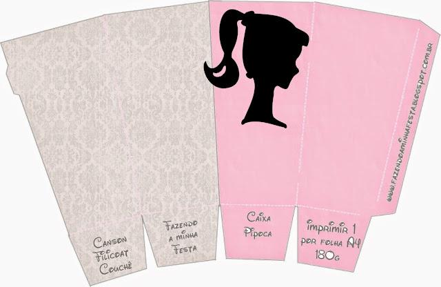 Barbie Silhouette Free Printable Pop Corn Box.