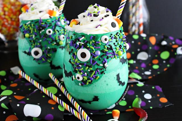 Halloween Green Monster Milkshakes from LoveandConfections.com #sponsored
