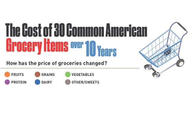 The Cost of 30 Common Grocery Items Over a 10 Year Period